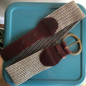 Anthropologie Leather and Stretch Brown Waist Belt
